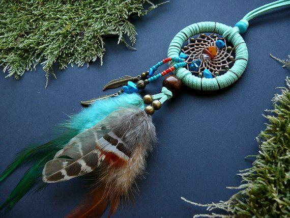Mint turquoise dream catcher necklace pendant by DeiDreamCatchers