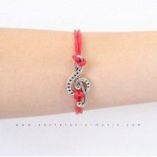 Single G Clef 5 Bracelet - Red