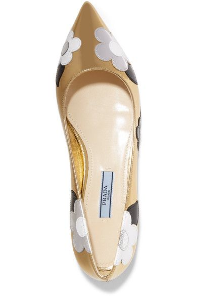 Prada - Appliquéd Mirrored And Patent-leather Point-toe Flats - Gold - IT37.5