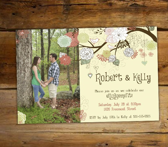 engagement party invitation shabby chic love