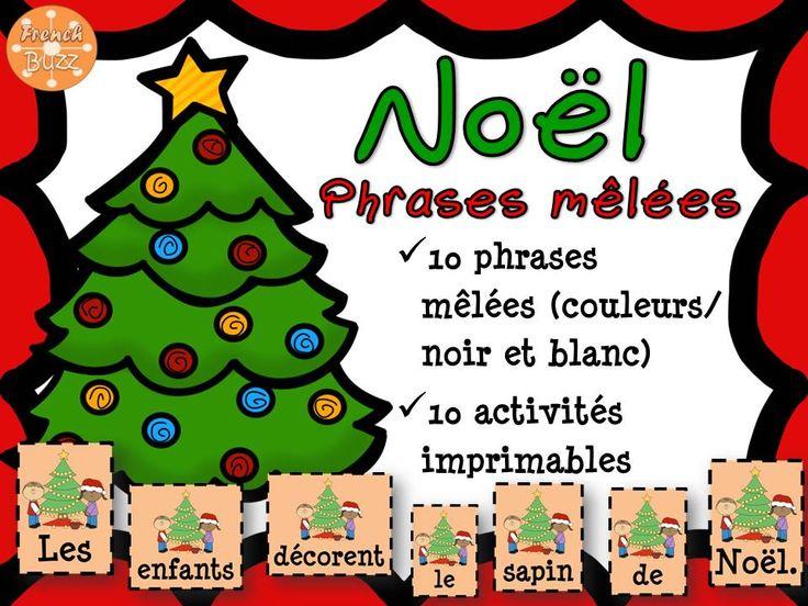 Noël - phrases mêlées. 10 activités imprimables et 10 phrases à remettre en ordre dans les centres de littératie. Thème de Noël.
