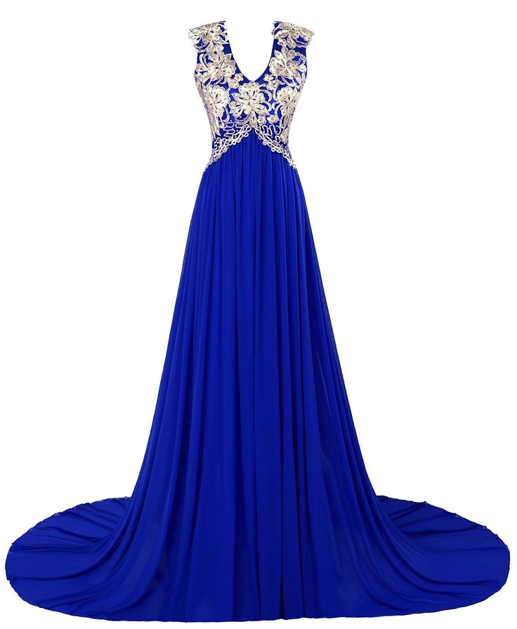 VEGERON Backless V Neck Maternity Evening Dress Long for Women Formal with Gold Applique Royal Blue Size 4