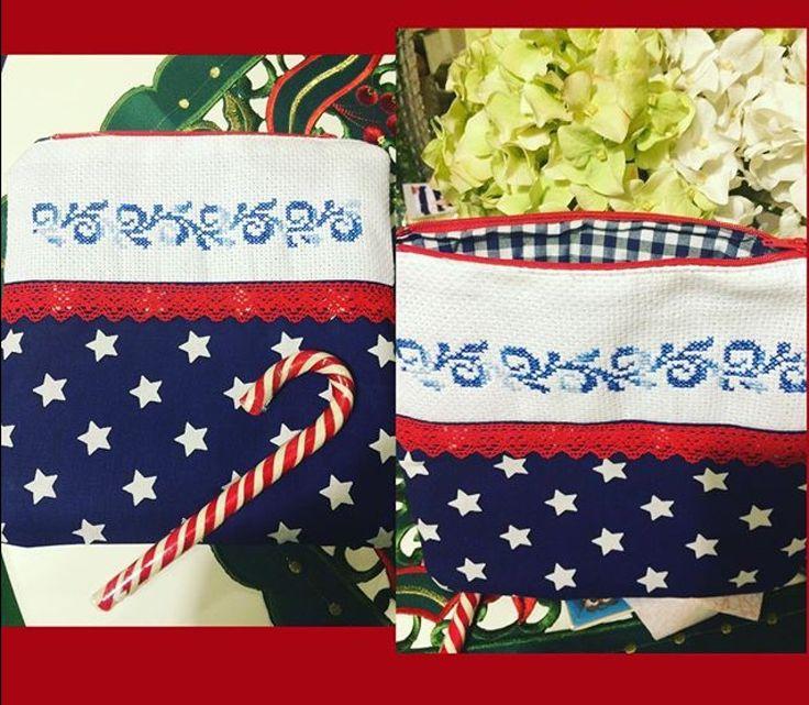 Makeup bag cross stitch hand made
