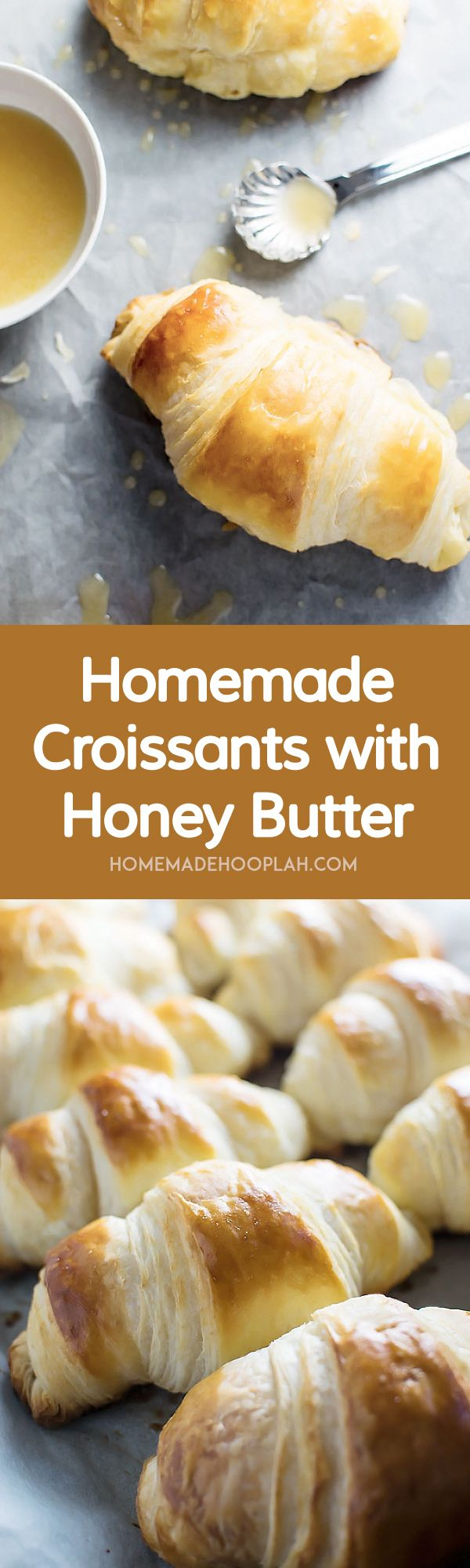Homemade Croissants with Honey Butter Drizzle! With a little time you can make your own flaky, buttery croissants at home. They're great on their on but amazing with the honey butter drizzle! | HomemadeHooplah.com