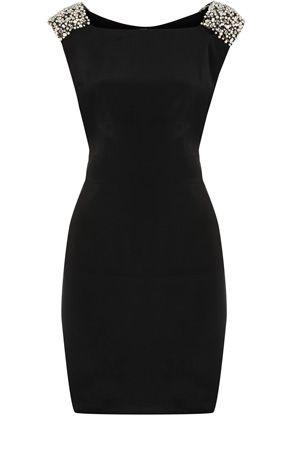Oasis Formal | Black Embellished Shoulder Shift Dress | Womens Fashion Clothing | Oasis Stores UK ($100-200) - Svpply