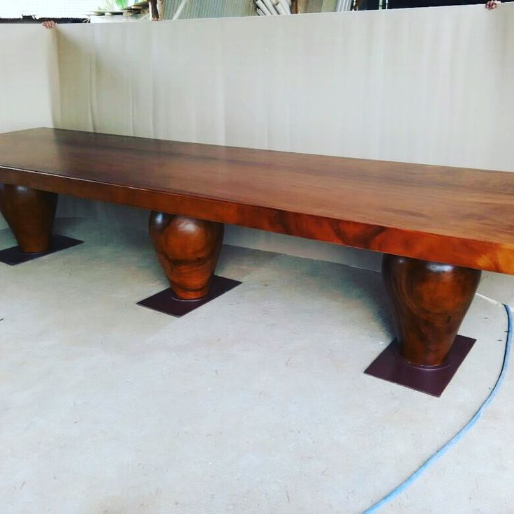 Custom Table. Suar wood with iron base. Top thickness 10 cm.