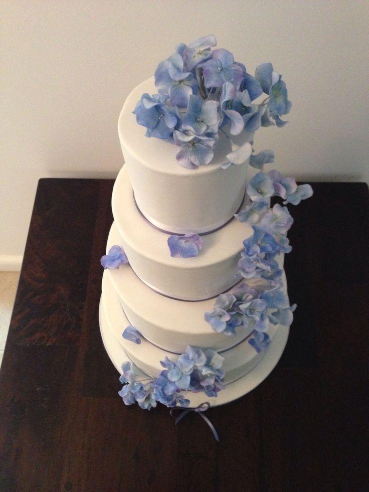 @Brown Sugar Custom Cakes                            hydrangea wedding cake