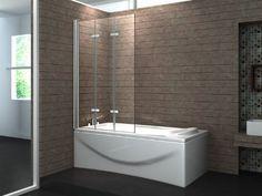 Tri-fold non-gut-busting (rubber bottom) door  VALVE 130 x 140 cm 3tlg. Faltwand Badewanne Echt Glas 6 mm Duschabtrennung Duschwand