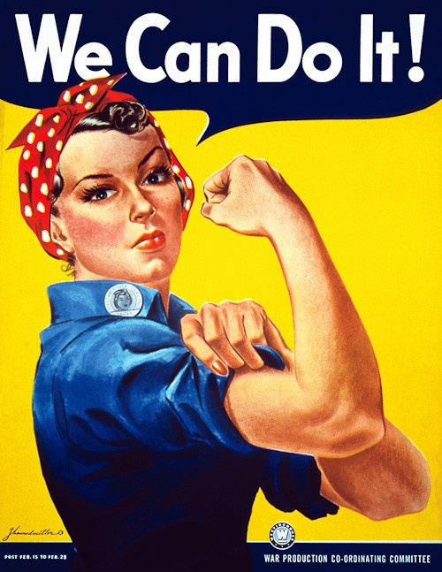 """A finely restored version of J. Howard Miller's iconic Rosie the Riveter poster. Rosie proclaims, """"We Can Do It!"""" Rosie the Riveter came to represent women working the production line on the home fron"""