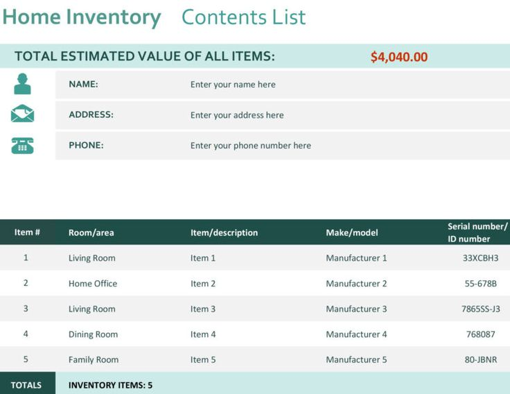 Home Inventory within Insurance Inventory List Template in ...