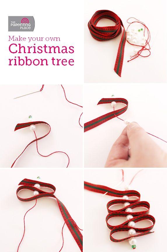 ribbon christmas ornaments | DIY ribbon Christmas tree ornament
