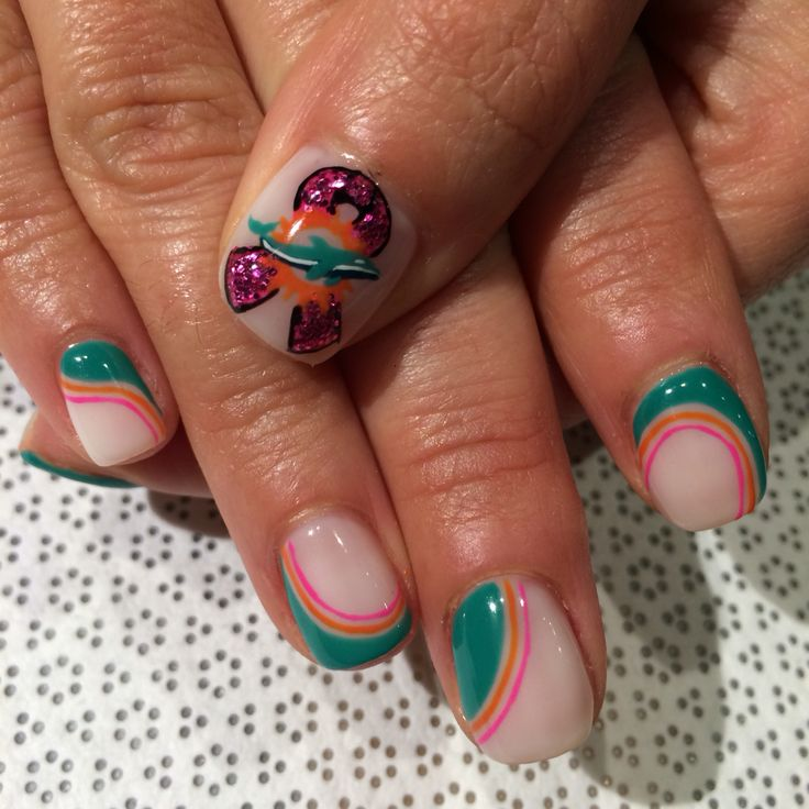 Best 25 miami dolphins nails ideas on pinterest miami dolphins breast cancer miami dolphins nail art prinsesfo Images