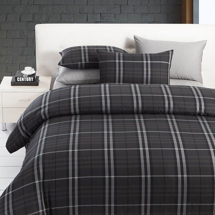 modern boys leisure black and grey plaid bedding sets manly duvet cover set