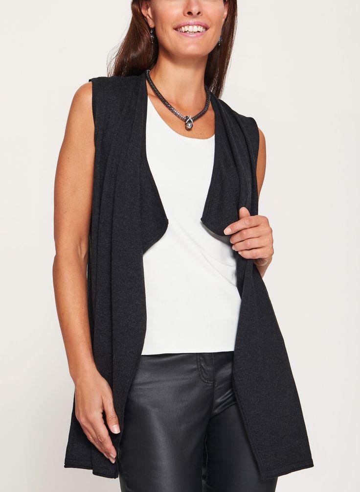 Cascade Front Sleeveless Knit Vest, Grey