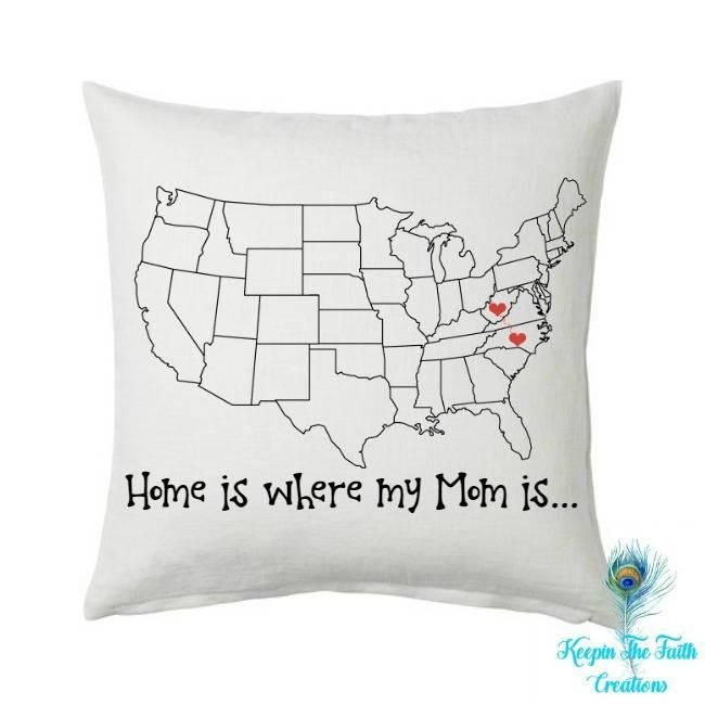 Mom Pillow - Home is Where my Mom Is - Gift for Mom - Mother Daughter - Long Distance - Knows no Distance - Mother Daughter Gift - Birthday