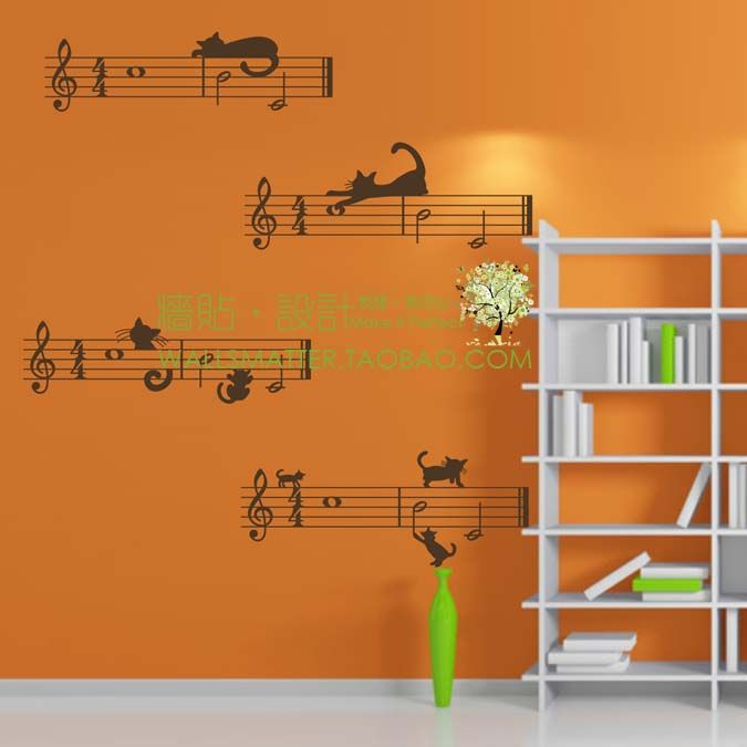 Cheap Decals For Ceramic Tiles Buy Quality Decorative Mirror Directly From China Decal Wall Decor Suppliers Sticker Music Notes With Cats