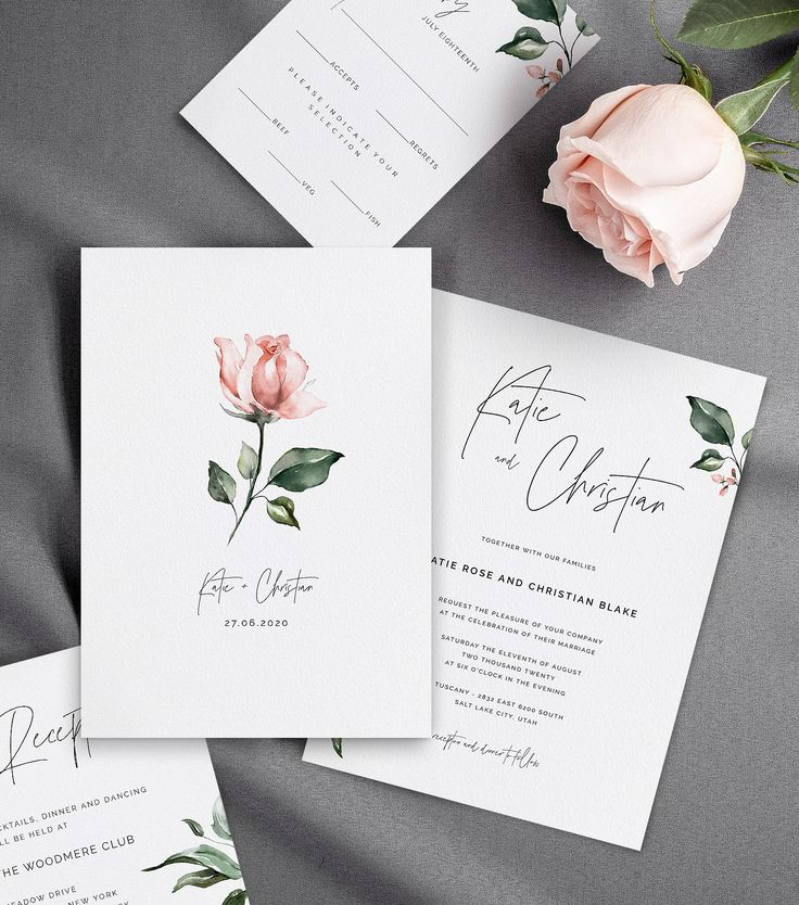 Wedding Invitations with Watercolor Pink Rose & Greenery, Details Card, Reception Card, RSVP Card, Self-Editable Templates, AB11_01_000