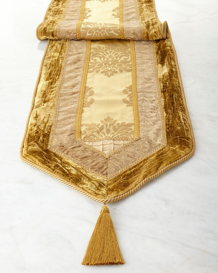 Golden Velvet Table Runner, Gold - Neiman Marcus
