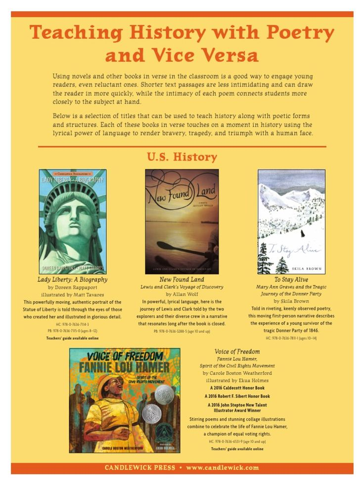 Using novels and other books in verse in the classroom is a good way to engage young readers, even reluctant ones. Shorter text passages are less intimidating and can draw the reader in more quickly, while the intimacy of each poem connects students more closely to the subject at hand. Below is a selection of titles that can be used to teach history along with poetic forms and structures. Each of these books in verse touches on a moment in history using the lyrical power of language to…