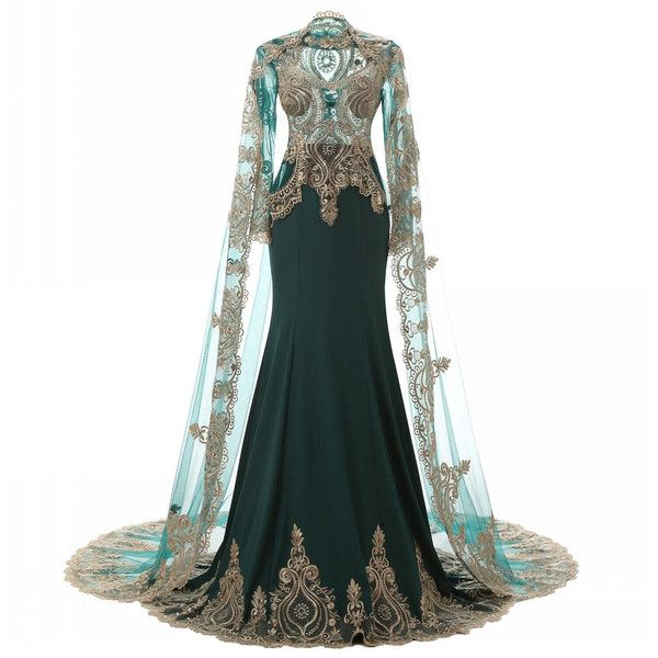 Elegant Evening Gowns With Cape Beaded Gold Lace Emerald Green Women... ❤ liked on Polyvore featuring dresses, gowns, formal gowns, prom gowns, lace prom dresses, long sleeve formal gowns and white gown