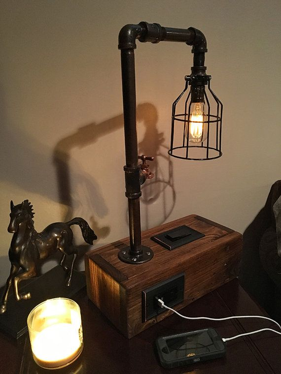 Hey, I found this really awesome Etsy listing at https://www.etsy.com/listing/398149293/rustic-industrial-table-lamp-w-2-usb