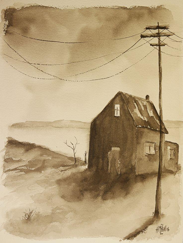 Escenas de acuarela - La casa del lago. Watercolor scenes - The house in the lake. HMZEN'16