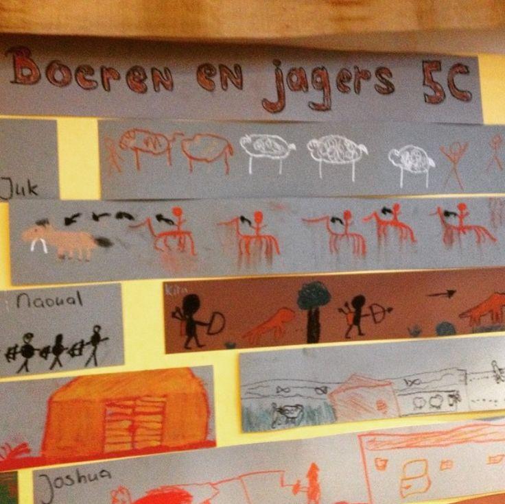 Tijdvak jagers en boeren: muurschilderingen maken.
