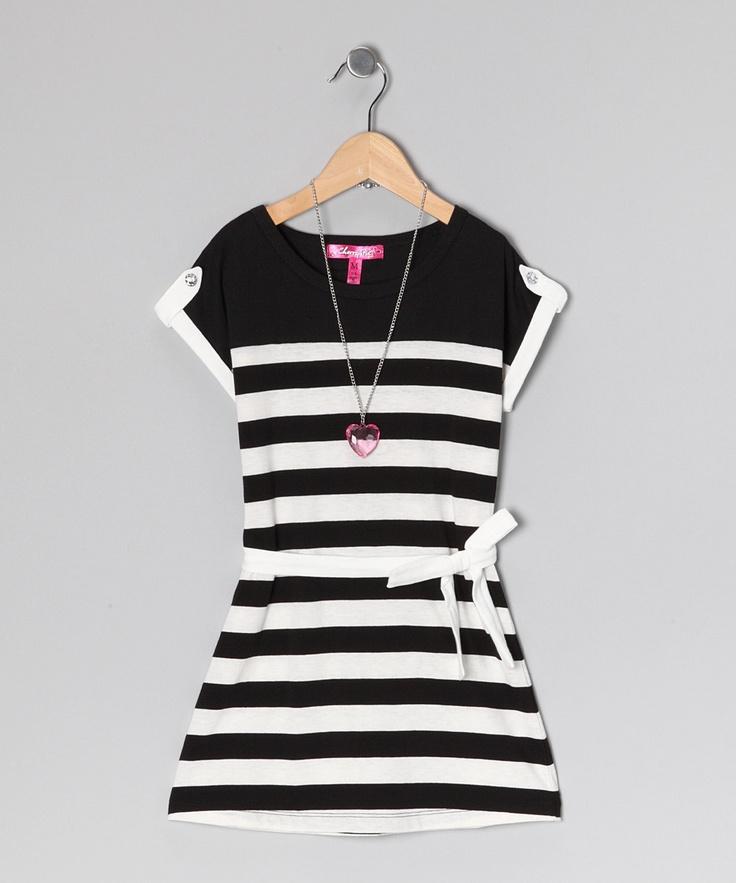 White Stripe Dress & Necklace from Cherry Stix on #zulily #girls #kids #kidsfashion