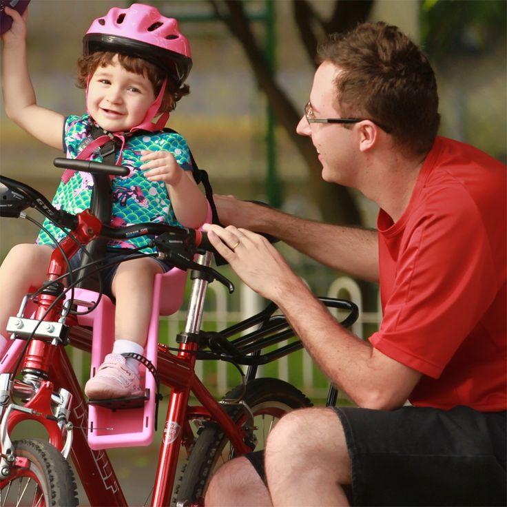 #bicicleta #bike #cadeirinha #cadeirinhaparabicicleta #industriabrasileira #crianças #infantil #aro26 #aro27 #aro29 #pai #filha #capacete #segurança #cuidado   Veja mais em www.kalf.com.br