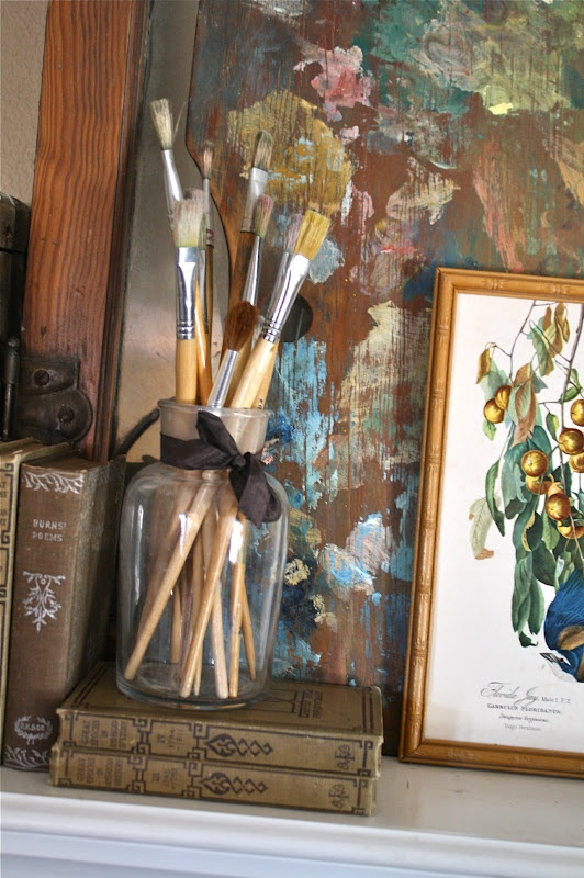 Grandma's painting brushes and picture!  Love it!