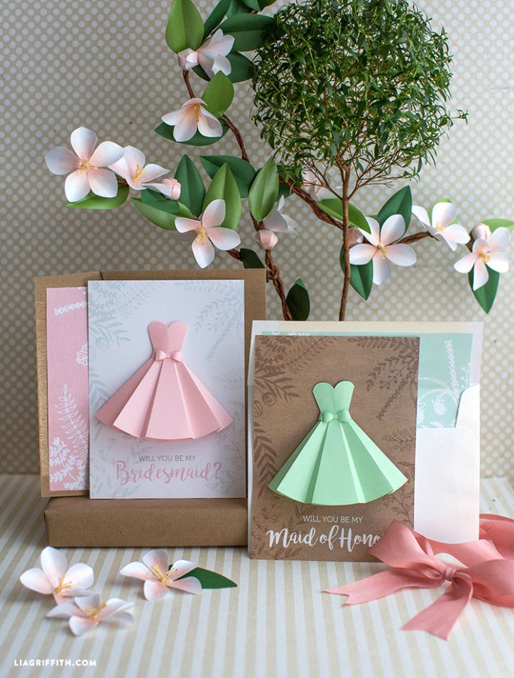 Paper Dress Will You Be My Bridesmaid Cards