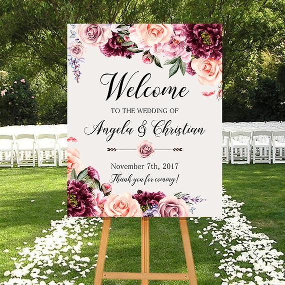 Wedding Welcome Sign Marsala Burgundy Peonies Floral Boho Etsy Wedding Welcome Signs Wedding Reception Signs Bridal Shower Decorations Elegant