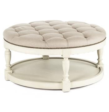 Marseille French Country Cream Ivory Linen Round Tufted Coffee Table Ottoman Ottomans Cream