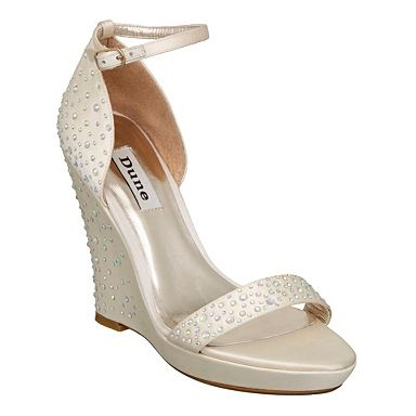 Ivory Happy D Diamante Embellished Satin Wedge Sandal