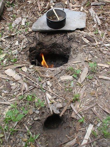 Dakota fire hole - conserves wood while minimizing smoke and light from the fire