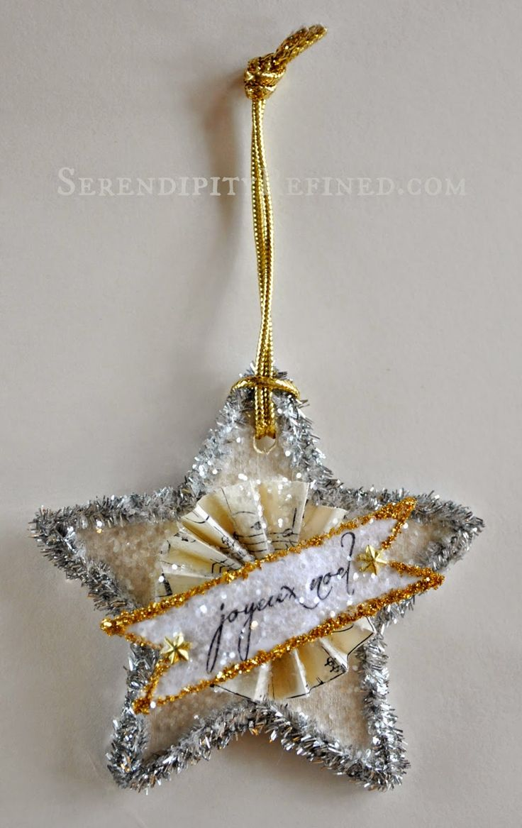 Sheet music christmas ornaments - Serendipity Refined Vintage Style Glitter Star Ornament Day 5
