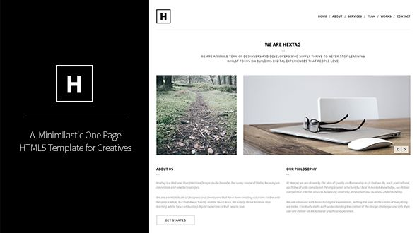 Hextag – Minimalistic One Page HTML5 Template