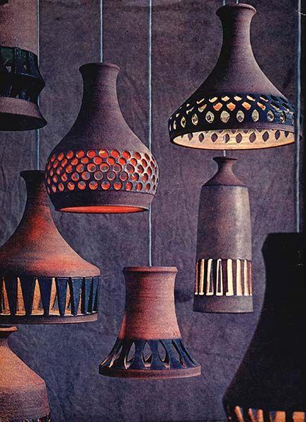 Raul Coronel's ceramic pendant lamps