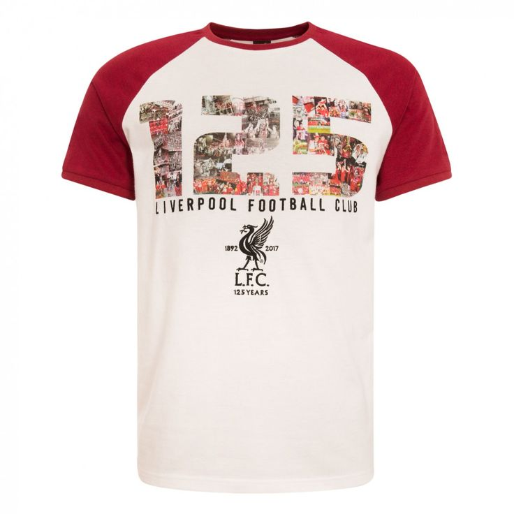 LFC 125 Mens White Montage Raglan Tee  | LFC 125 Year Anniversary Collection | Liverpool FC Official Store