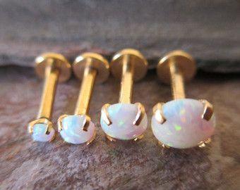 pendiente del perno prisionero 16g opal cartílago labret por HiUnni