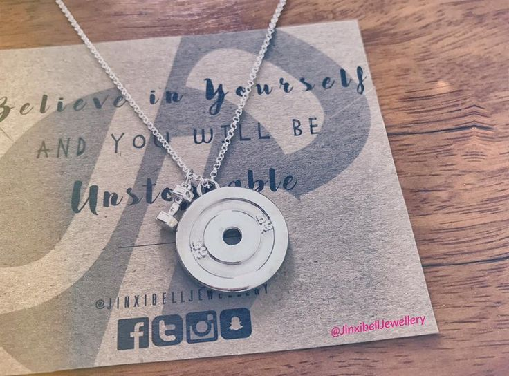 Weight plate & Mini Dumbbell Necklace   #Silver #Fitnessjewellery