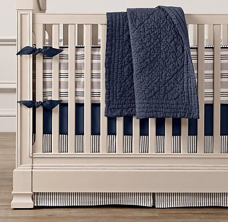 Vintage Ticking Stripe Three-Piece Crib Bedding Set