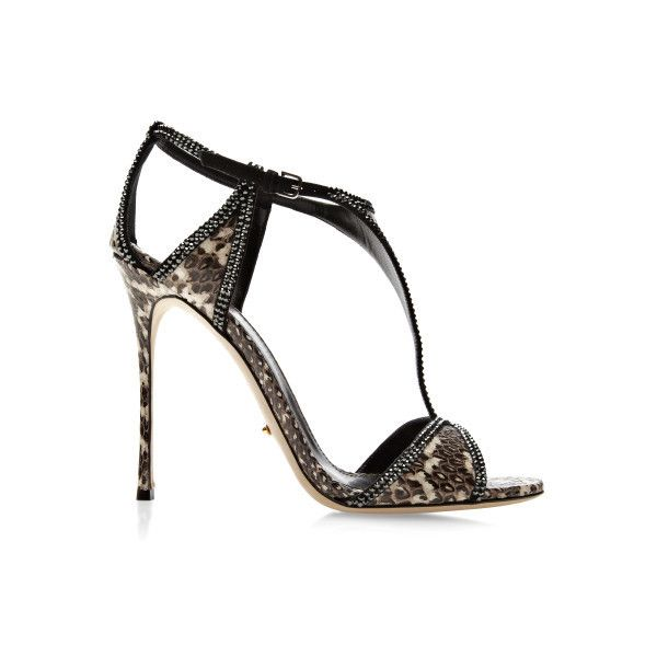 Sergio Rossi Crystal-Embellished Snakeskin Sandals (1.930 RON) ❤ liked on Polyvore featuring shoes, sandals, heels, обувь, black sandals, high heel shoes, crystal embellished sandals, heeled sandals and black and white shoes