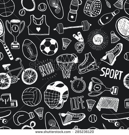 Hand drawn doodle sport background. Vector cartoon pattern with sport icons, cycling, skating, soccer, bowling, golf, tennis, baseball.