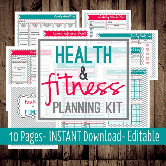 Health and Fitness Planning Kit-Fitness Planner-Diet-Weight Loss Tracker-10 Sheets-Chevron-INSTANT DOWNLOAD & EDITABLE on Etsy, $10.00