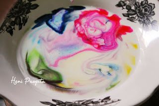 Celotehan Mama Rayyaan: Proyek Sains: Mewarnai Susu dengan Efek Tie Dye