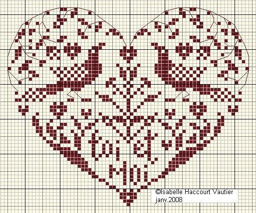IsaV freebieCuori, Grilled Gratuit, Stitches Heart, Heart, Free Crosses Stitches, Cross Stitch, Free Charts, Crosses Stitches Charts, Freebies Isahv