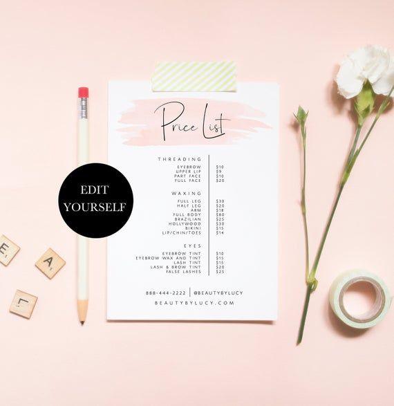 Printable Price List Template Editable Price List Download Etsy Price List Template Salon Price List Price List Design