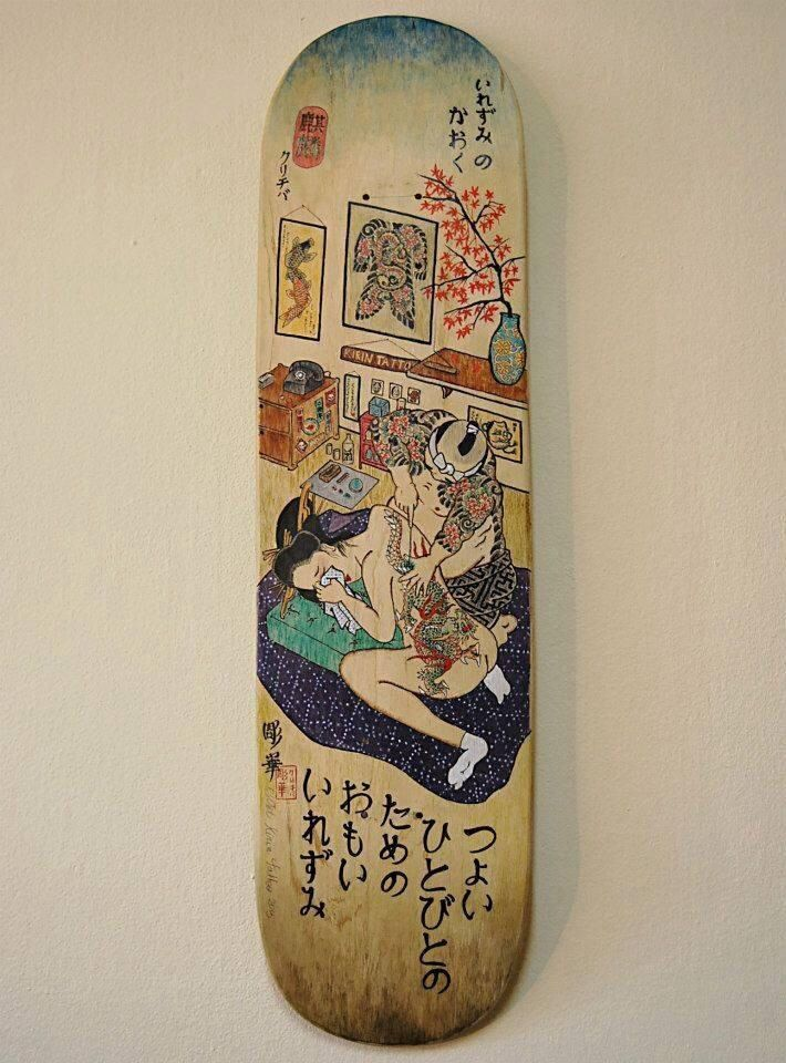 Japanese tattoo Skateboard art #Tattoos #art #skateboard