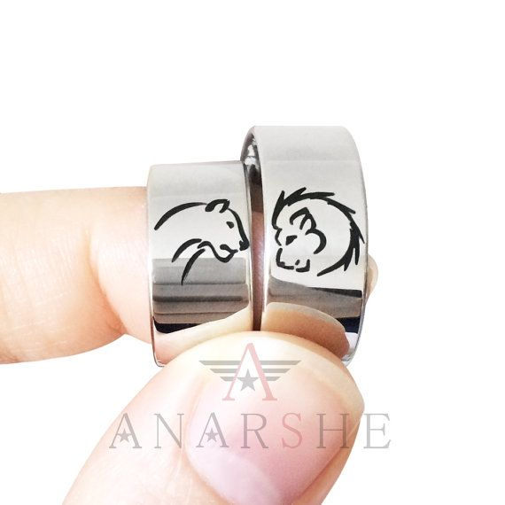 Couples band rings Lion and Lioness Silver Rings by ShopAnarshe